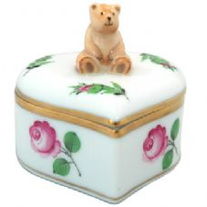 Herend Heart Shaped Fancy Box with Teddy Bear - Rose